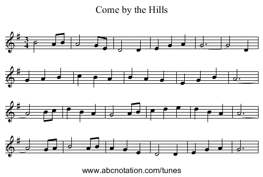 Come by the Hills - staff notation
