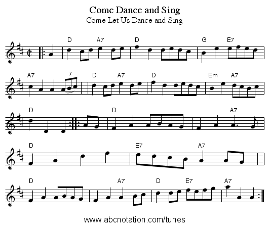 Come Dance and Sing - staff notation