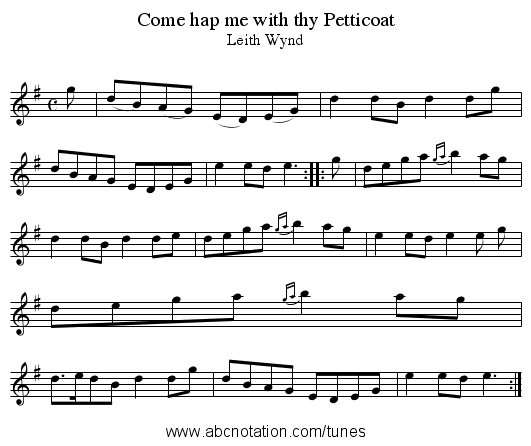 Come hap me with thy Petticoat - staff notation