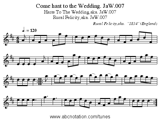 Come hast to the Wedding. JaW.007 - staff notation