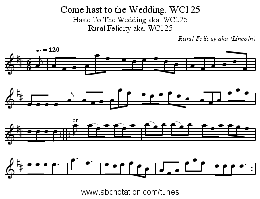 Come hast to the Wedding. WCl.25 - staff notation