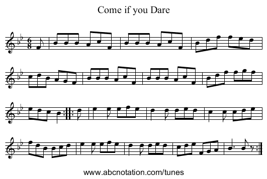 Come if you Dare - staff notation