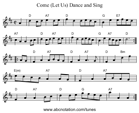 Come (Let Us) Dance and Sing - staff notation