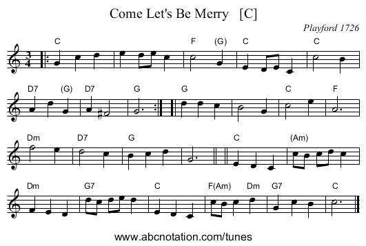 Come Let's Be Merry   [C] - staff notation