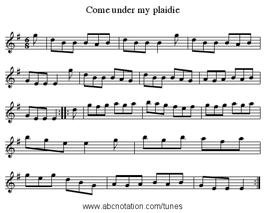 Come under my plaidie - staff notation