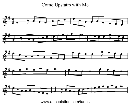 Come Upstairs with Me - staff notation