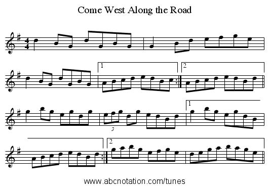Come West Along the Road - staff notation