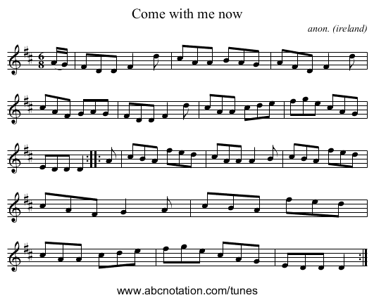 Come with me now - staff notation