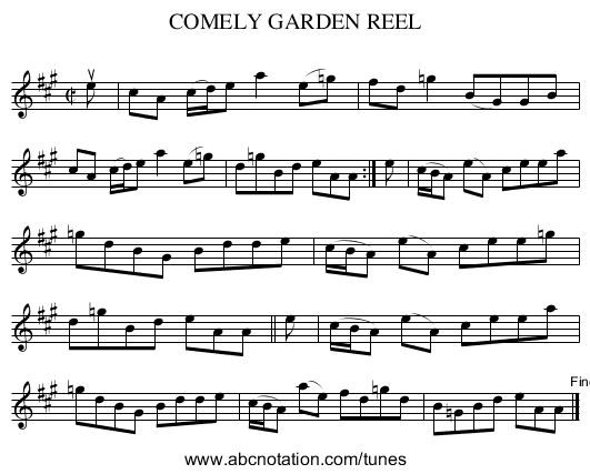COMELY GARDEN REEL - staff notation