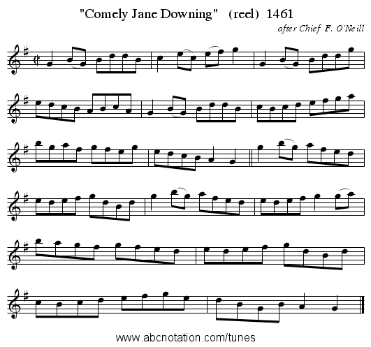 Comely Jane Downing   (reel)  1461 - staff notation