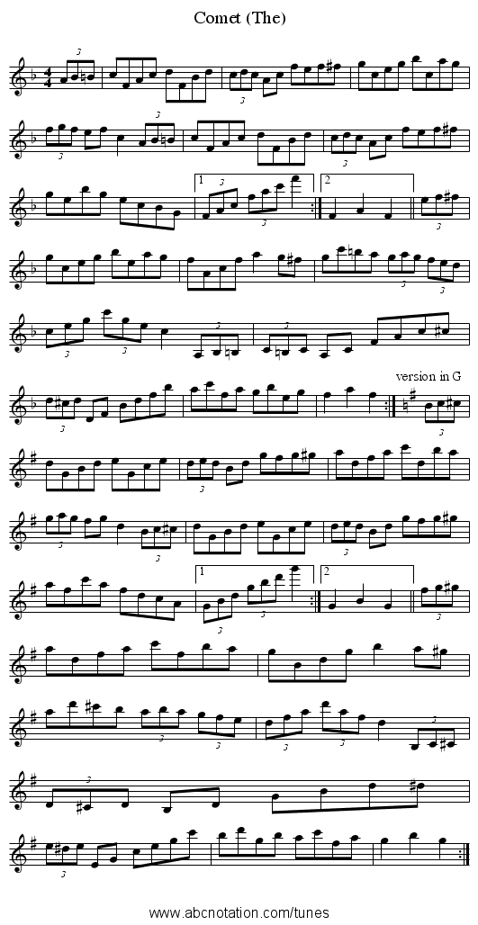 Comet (The) - staff notation
