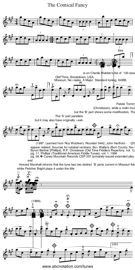 Comical Fancy, The - staff notation