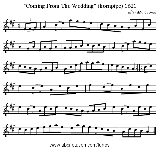 Coming From The Wedding (hornpipe) 1621 - staff notation