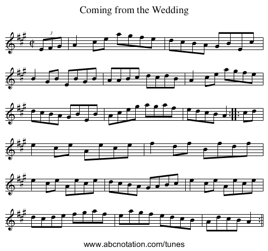 Coming from the Wedding - staff notation