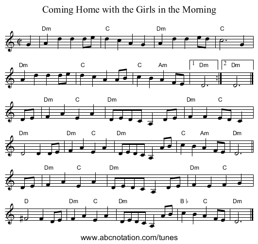 Coming Home with the Girls in the Morning - staff notation
