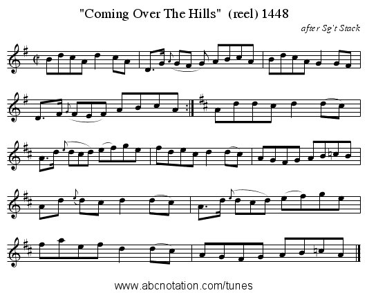 Coming Over The Hills  (reel) 1448 - staff notation