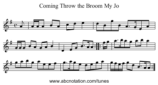Coming Throw the Broom My Jo - staff notation