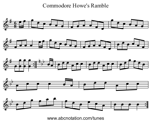 Commodore Howe's Ramble - staff notation