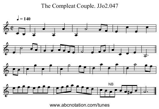 Compleat Couple,The. JJo2.047 - staff notation