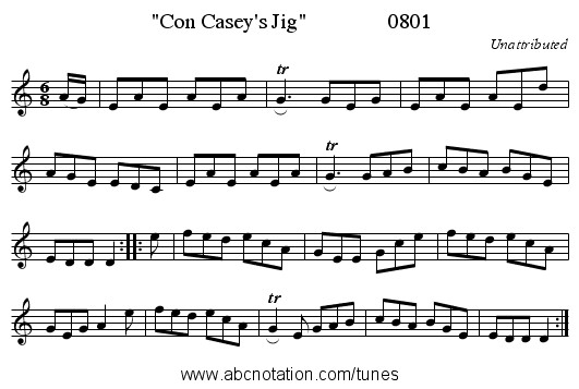 Con Casey's Jig               0801 - staff notation