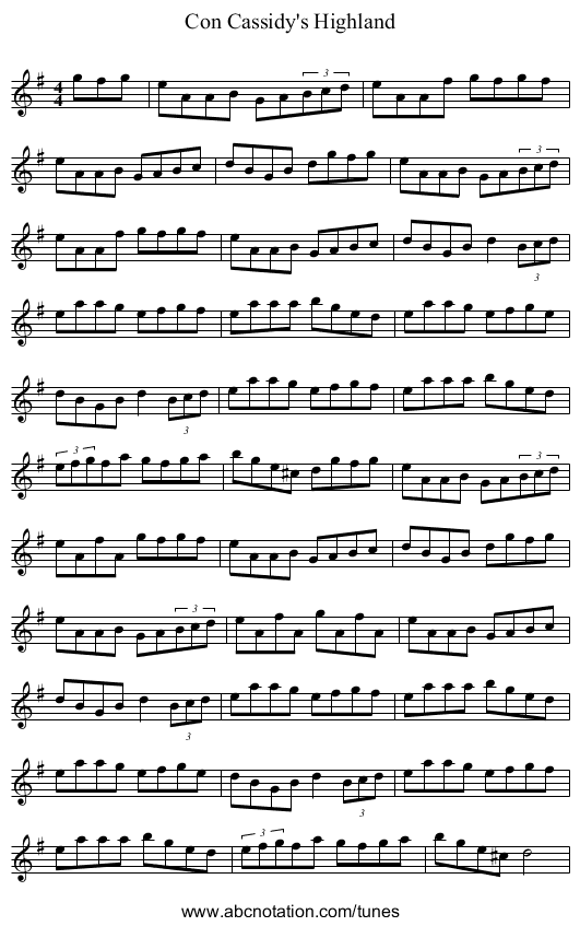 Con Cassidy's Highland - staff notation