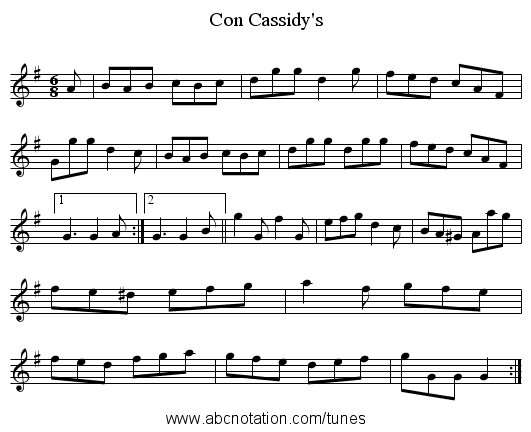 Con Cassidy's - staff notation