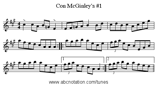 Con McGinley's #1 - staff notation