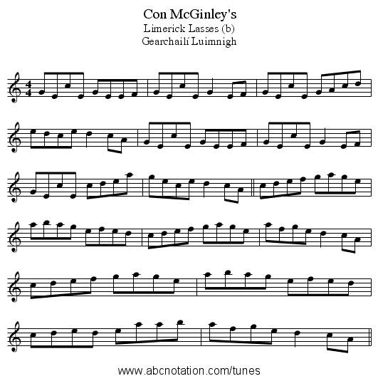 Con McGinley's - staff notation