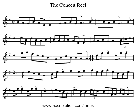 Concert Reel, The - staff notation