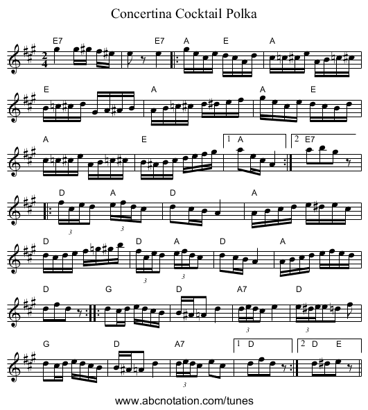 Concertina Cocktail Polka - staff notation