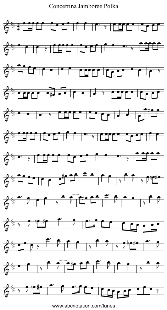 Concertina Jamboree Polka - staff notation