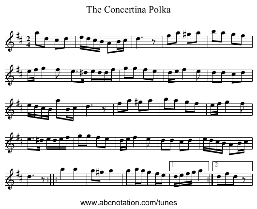 Concertina Polka, The - staff notation