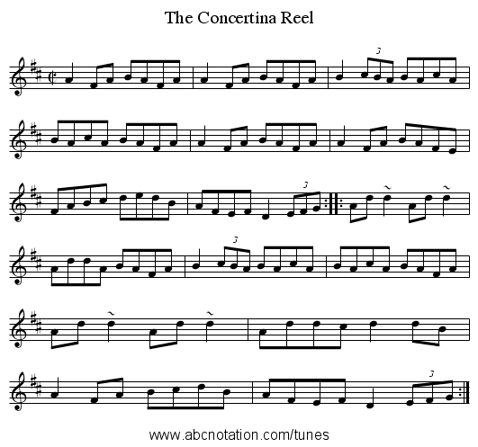 Concertina Reel, The - staff notation