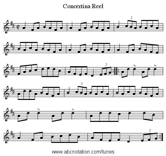 Concertina Reel - staff notation