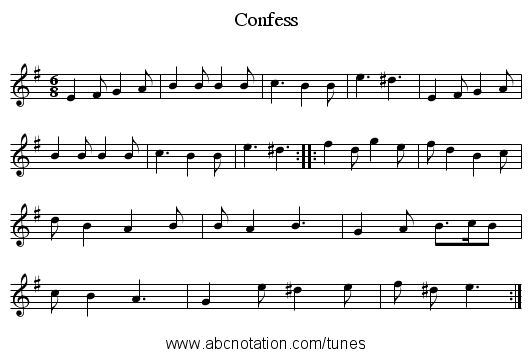 Confess - staff notation