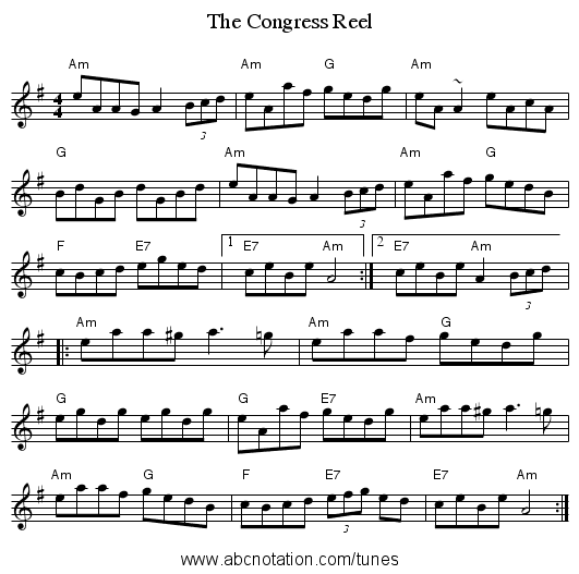 Congress Reel, The - staff notation