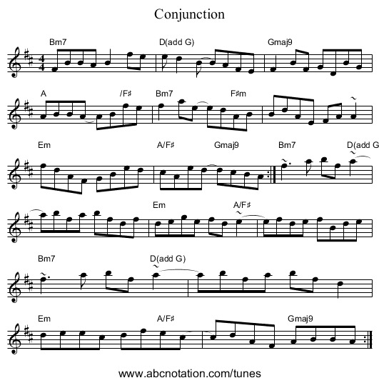 Conjunction - staff notation