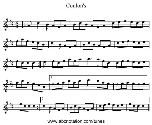 Conlon's - staff notation