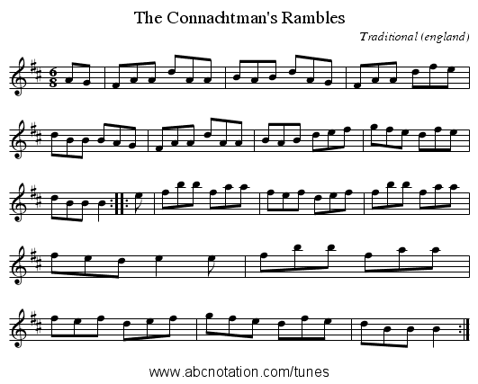 Connachtman's Rambles, The - staff notation