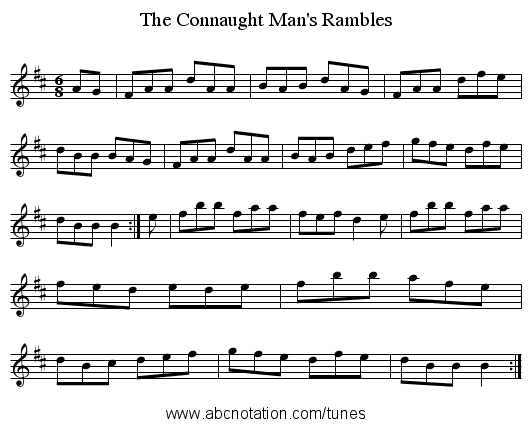 Connaught Man's Rambles, The - staff notation