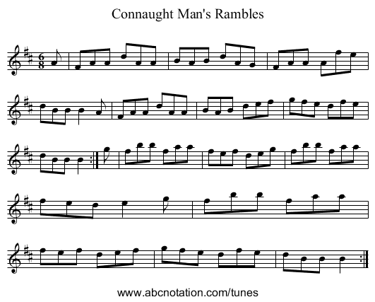 Connaught Man's Rambles - staff notation