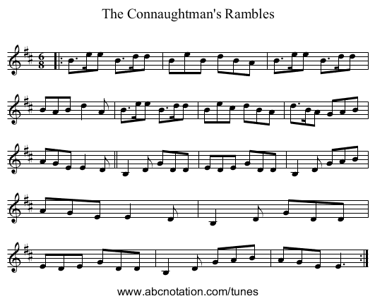 Connaughtman's Rambles - staff notation