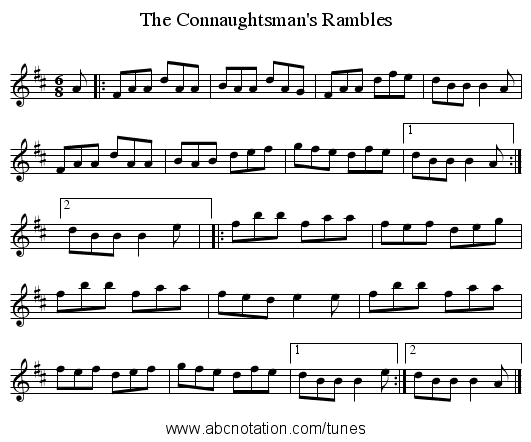 Connaughtsman's Rambles, The - staff notation