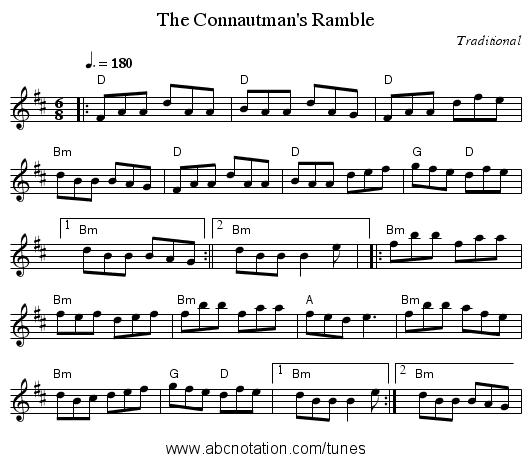 Connautman's Ramble, The - staff notation