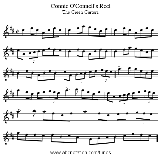 Connie O'Connell's Reel - staff notation