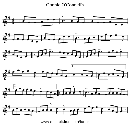 Connie O'Connell's - staff notation