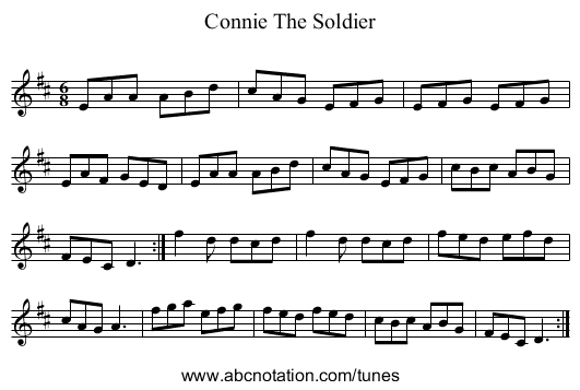 Connie The Soldier - staff notation
