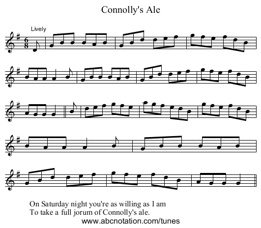 Connolly's Ale - staff notation