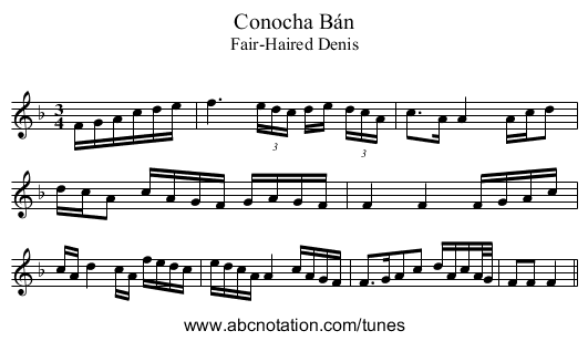 Conocha Bán - staff notation