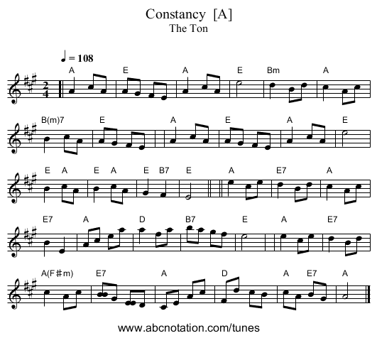 Constancy  [A] - staff notation